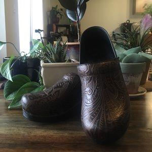 Dansko Brown Tooled Leather Clogs